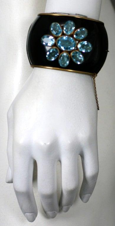 Schiaparelli Haute Couture Aqua and  Enamel Cuff, 1930's For Sale 1