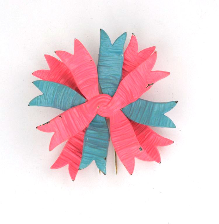 Haute Couture Shocking Pink and Blue Schiaparelli Bow Brooch 2