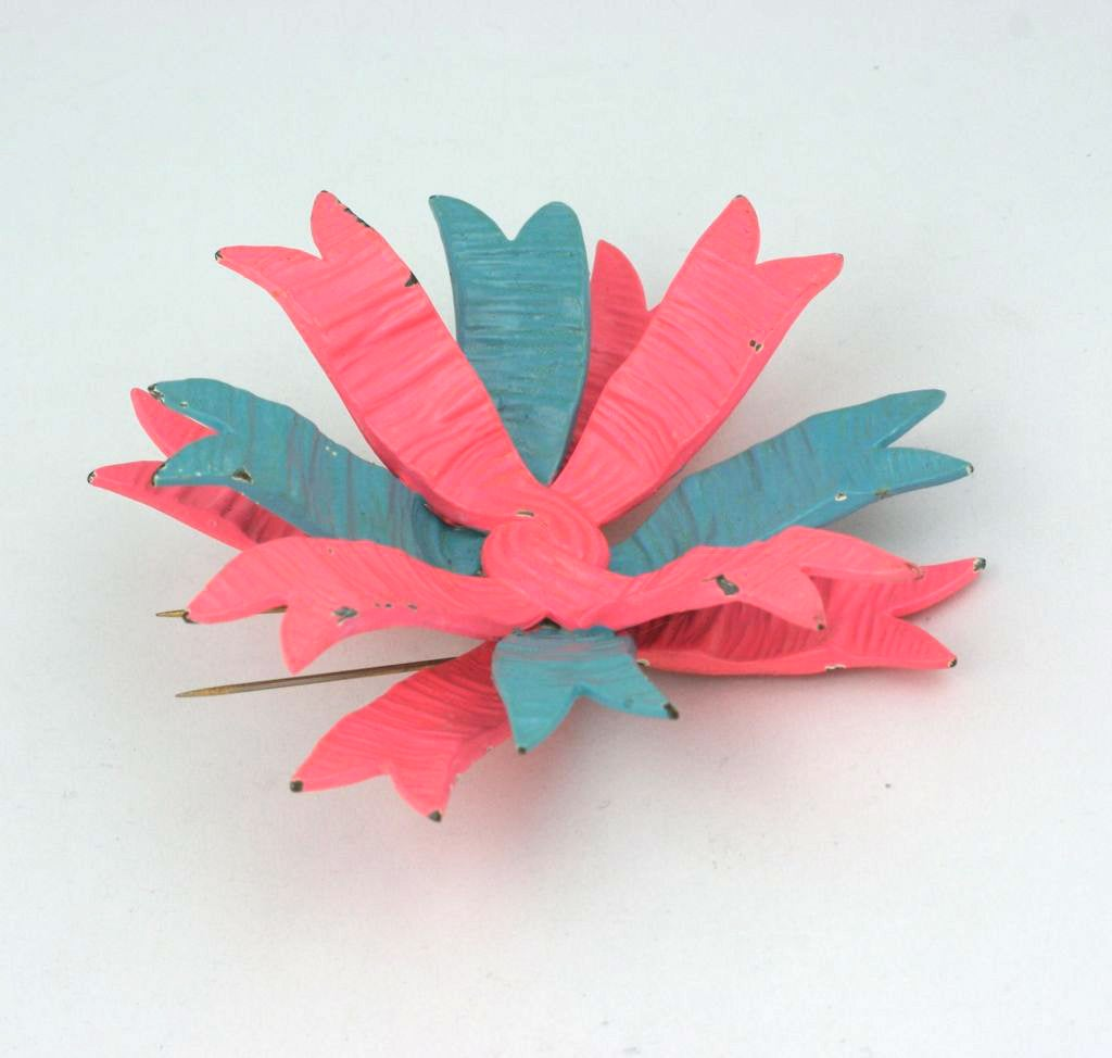Art Deco Haute Couture Shocking Pink and Blue Schiaparelli Bow Brooch For Sale