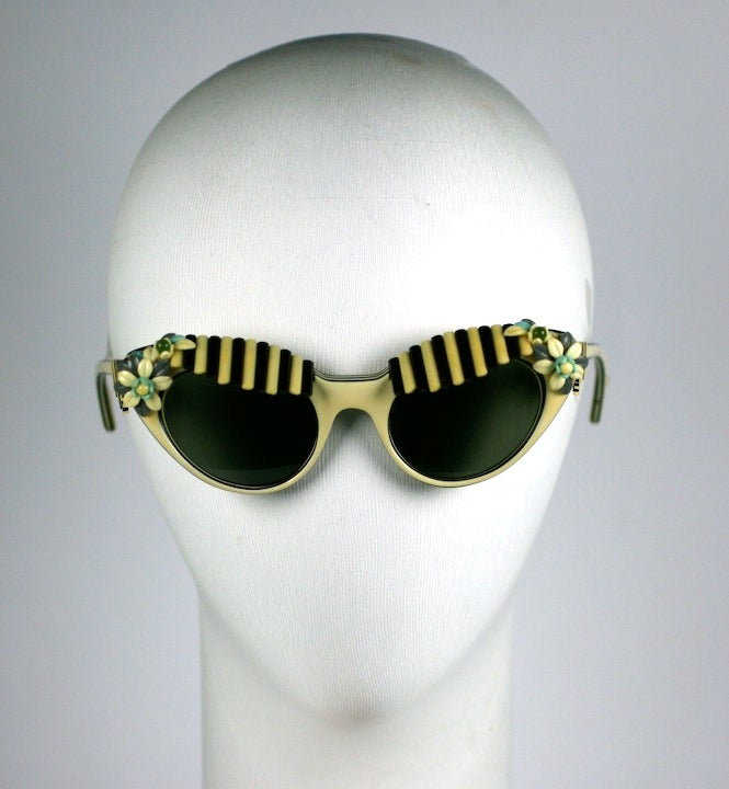 House of Schiaparelli Black and White Cabana Awning Glasses For Sale 4
