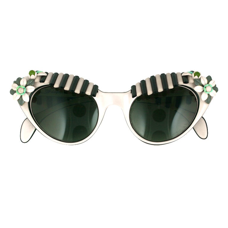 House of Schiaparelli Black and White Cabana Awning Glasses For Sale