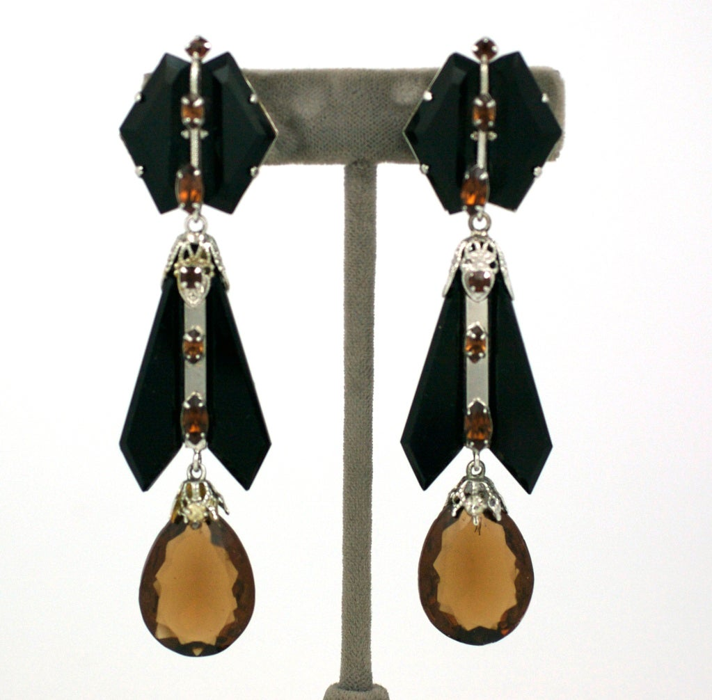 House of Schiaparelli Jet and Topaz Glass Long Ear Pendants 2