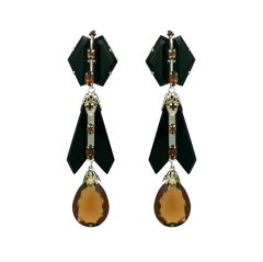 House of Schiaparelli Jet and Topaz Glass Long Ear Pendants