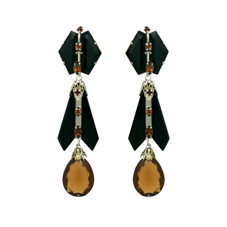 House of Schiaparelli Jet and Topaz Glass Long Ear Pendants 1
