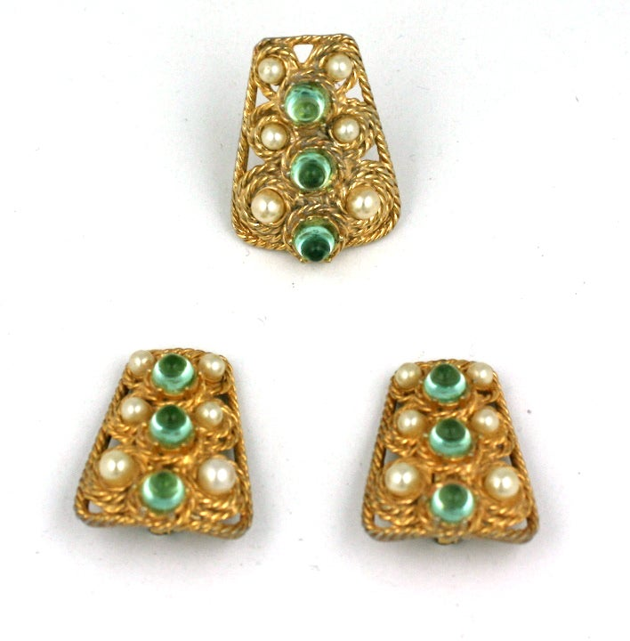House of Schiaparelli Anglo Indian Peridot Cabochon Set 2
