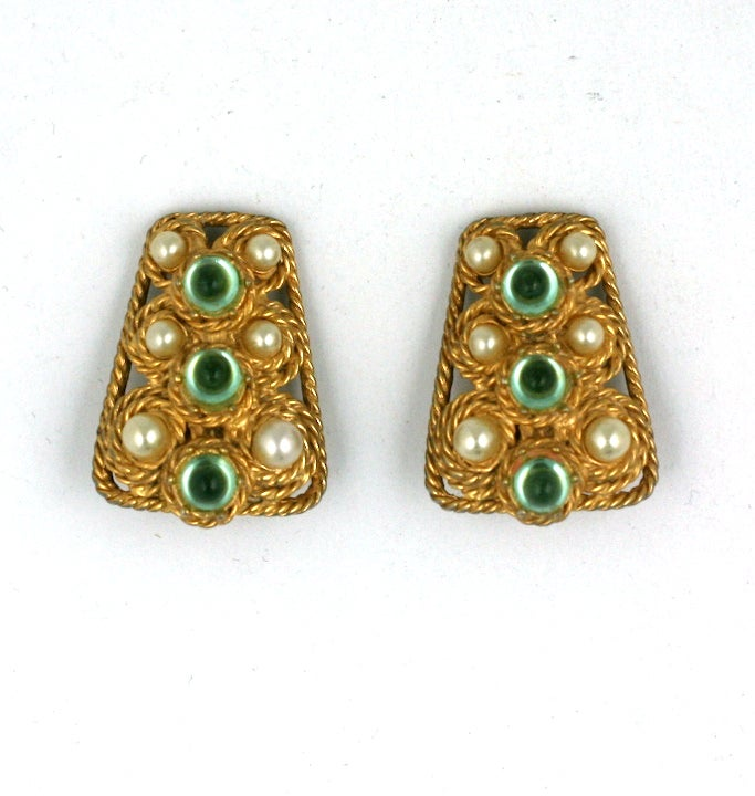 House of Schiaparelli Anglo Indian Peridot Cabochon Set 3