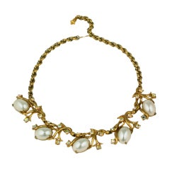 House of Schiaparelli Gilt Vine and Pearl Cab Necklace