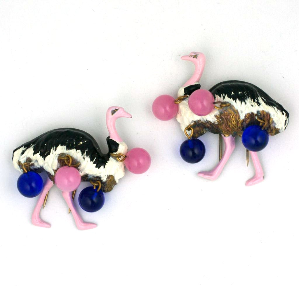Art Deco Schiaparelli Haute Couture Ostrich Clips, Circus Collection 1938 For Sale