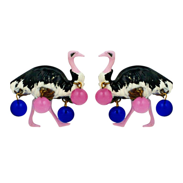 Schiaparelli Haute Couture Ostrich Clips, Circus Collection 1938 For Sale