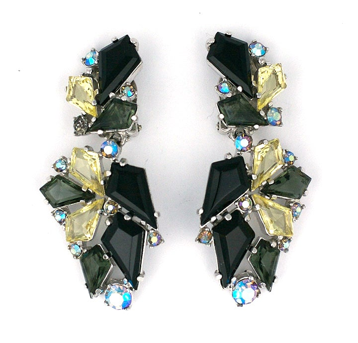 House of Schiaparelli Jet, Smoke and Citrine Earrings 2