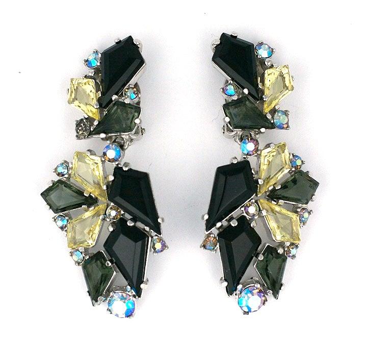 House of Schiaparelli Jet, Smoke and Citrine Earrings image 2