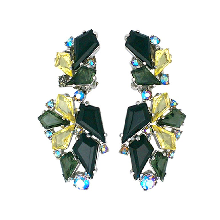 House of Schiaparelli Jet, Smoke and Citrine Earrings 1