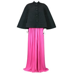 Rare Schiaparelli Black  Quilted Faille Evening Cape, 1951