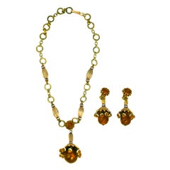 House of Schiaparelli Topaz and Rhinestone Victorian Revival Set