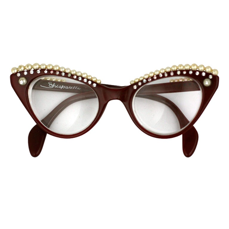 Glasses Frames Eyebrows : House of Schiaparelli Surreal Pearl Eyebrow Glasses at 1stdibs