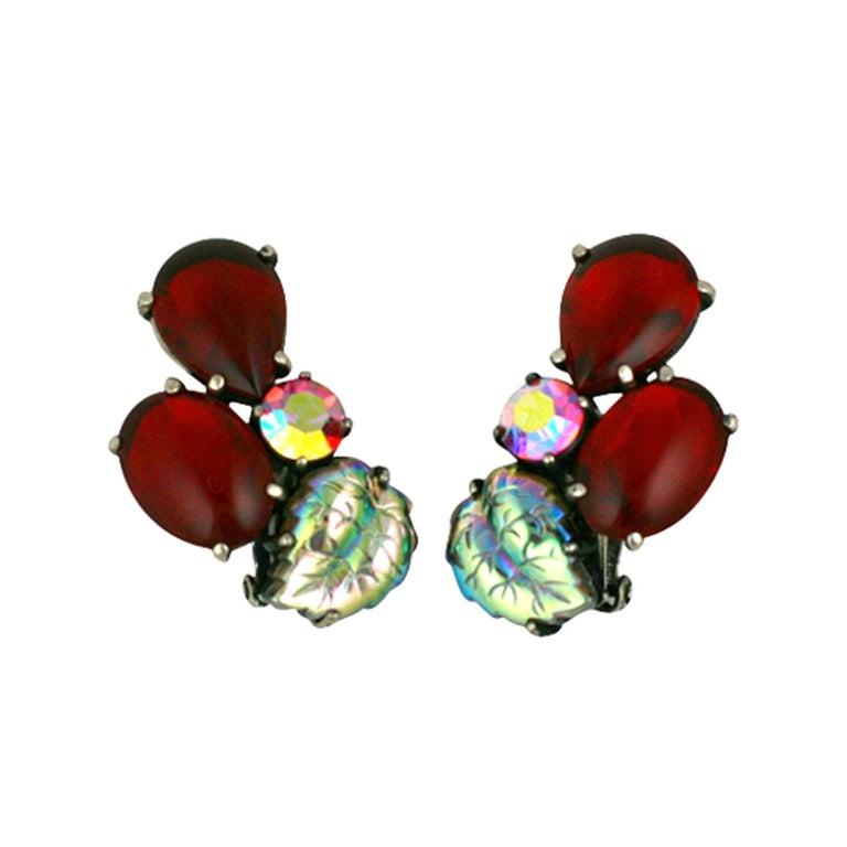 House of Schiaparelli Ruby and Iridized Leaf Earclips 1