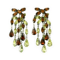 House of Schiaparelli Faux Topaz and Citrine Chandelier Earclips
