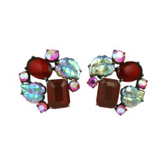 House of Schiaparelli Double iridized Leaf and Ruby Earclips