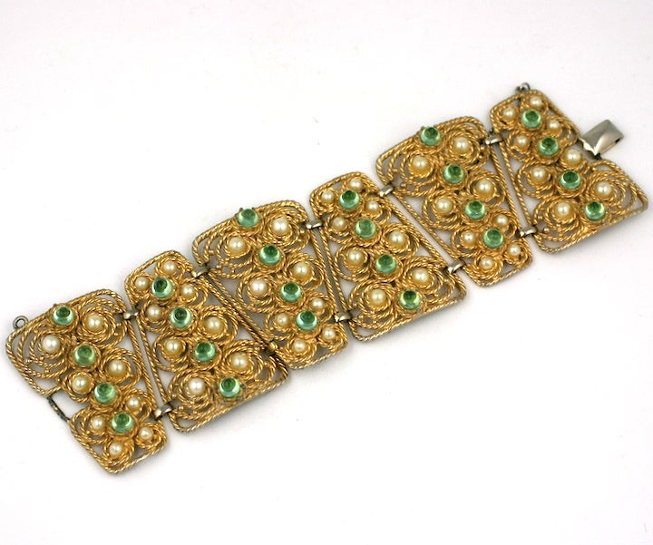 House of Schiaparelli Anglo Indian Peridot Cabochon Bracelet 2