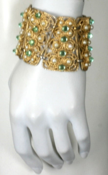 House of Schiaparelli Anglo Indian Peridot Cabochon Bracelet 3