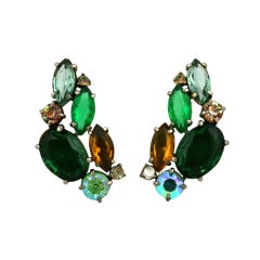 House of Schiaparelli Emerald and  Topaz Earclips