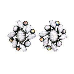 House of Schiaparelli Iridized White Lava Sunburst Earclips