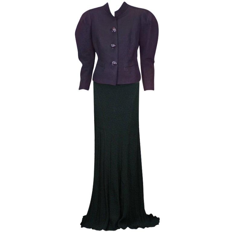 Schiaparelli haute couture black changeant faille evening for Haute couture jacket
