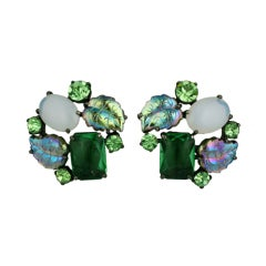 House of Schiaparelli Double iridized Leaf and Peridot Earclips
