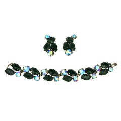 House of Schiaparelli's Jet and Iridized Crystal Demi Parure
