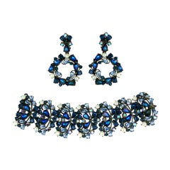 House of Schiaparelli Iridized Sapphire and Bubble Demi Parure