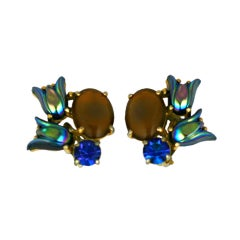 House of Schiaparelli Deep Water Cabochon and Tulip Earrings