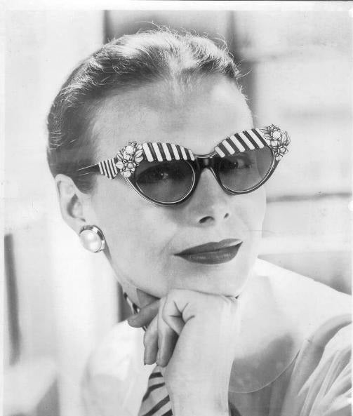 House of Schiaparelli Black and White Cabana Awning Glasses For Sale 6
