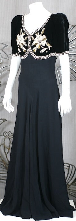 Women's Elsa Schiaparelli Haute Couture Faux Bolero Gown For Sale