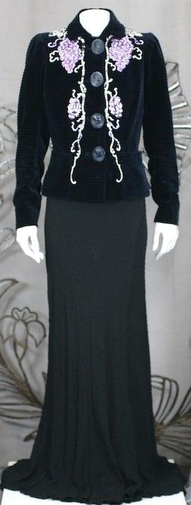 Black Extraordinary Elsa Schiaparelli Haute Couture Evening Jacket For Sale