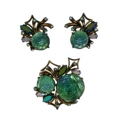 House of Schiaparelli Molded Green Rose Set