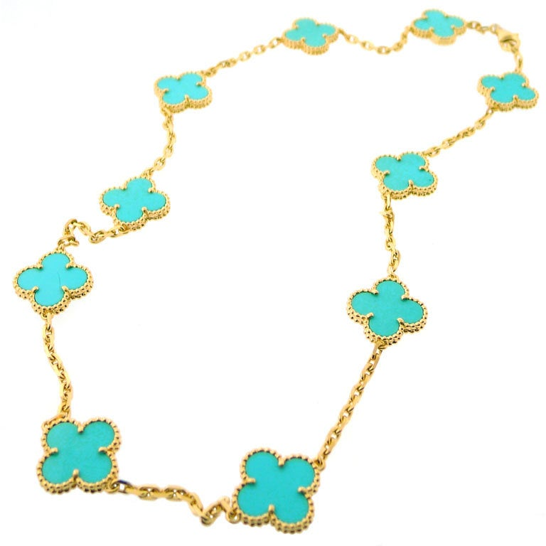 cleef and arpels alhambra turquoise gold necklace at