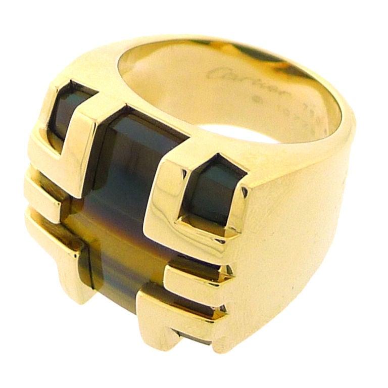 Cartier Yellow Gold Tiger S Eye Mens Ring At 1stdibs