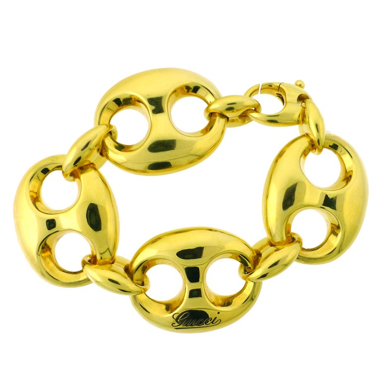 Gucci Yellow Gold Mariner Anchor Chain Link Bracelet At