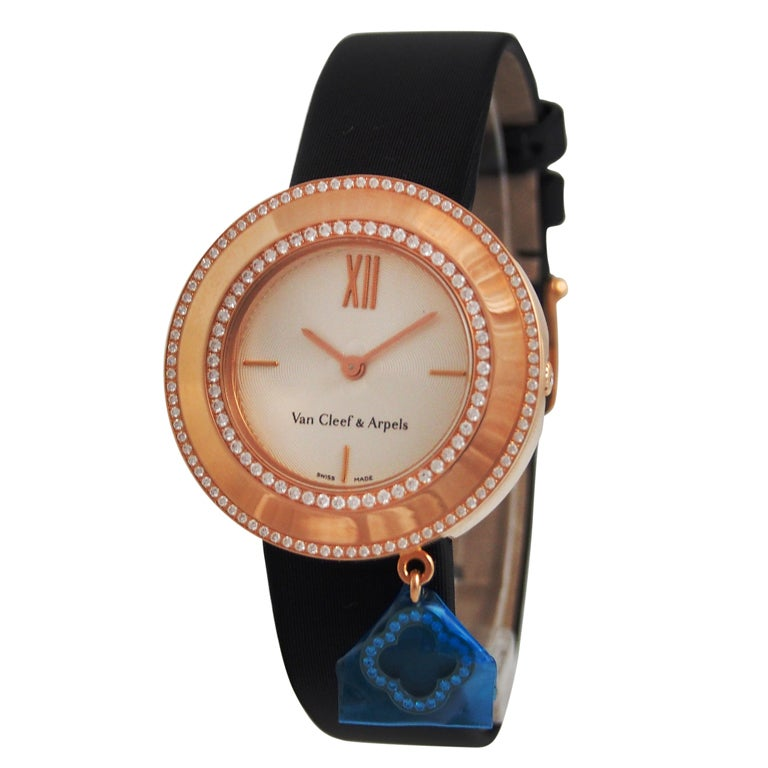 Van Cleef And Arpels Rose Gold And Diamonds Charms Watch