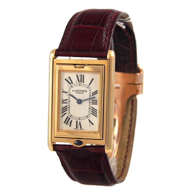 Cartier Yellow Gold Collection Prive Tank Basculante Millenium At