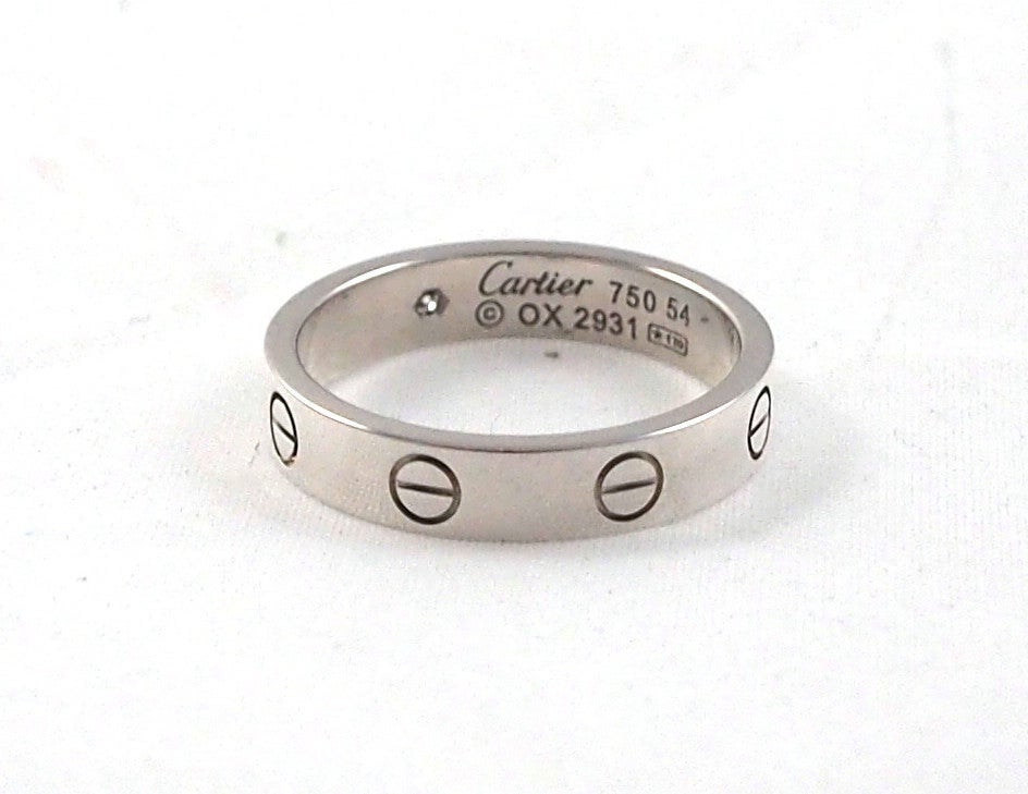 CARTIER - Love Wedding Band White Gold  Single Diamond Size 54 image ...
