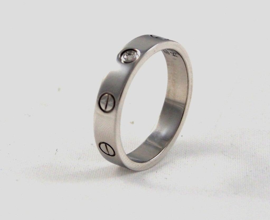 CARTIER - Love Wedding Band White Gold  Single Diamond Size 54 image ...