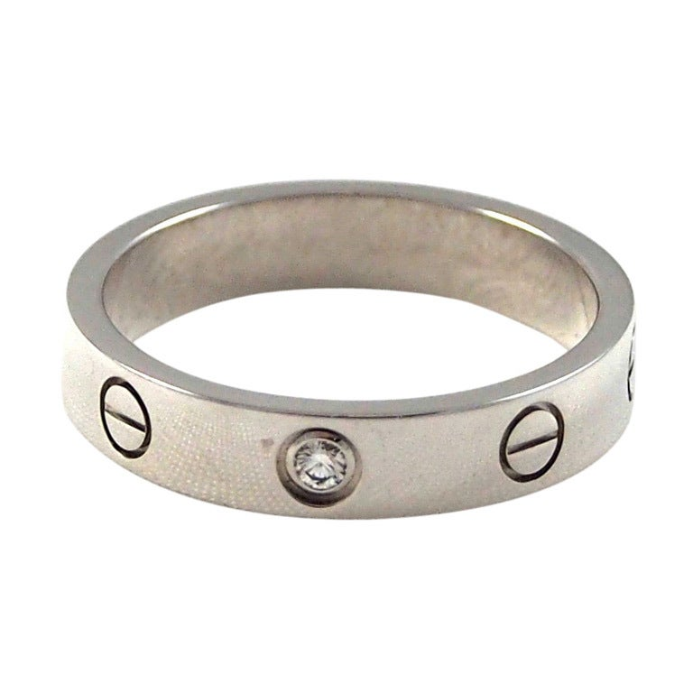 CARTIER - Love Wedding Band White Gold  Single Diamond Size 54