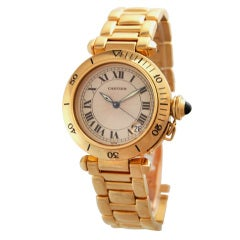 CARTIER Yellow Gold Pasha Wristwatch on Yellow Gold Bracelet