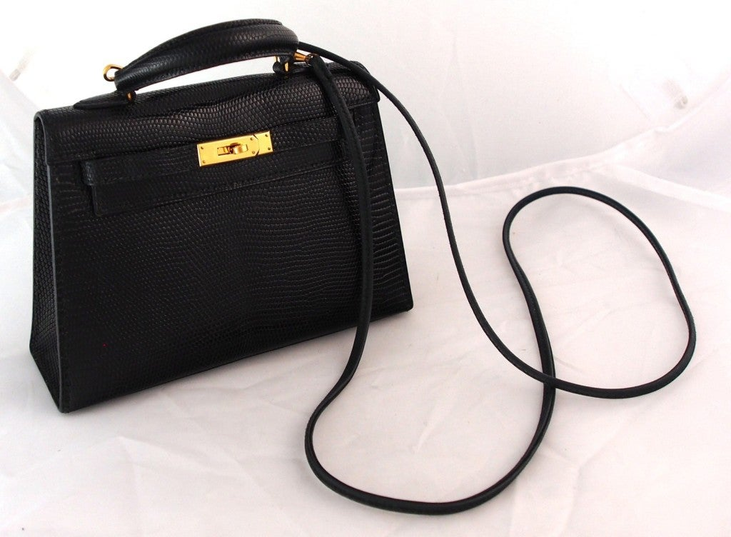 HERMES Kelly rare \u0026quot;Micro Mini\u0026quot; Black Lizard 15cm Bag Vintage ...