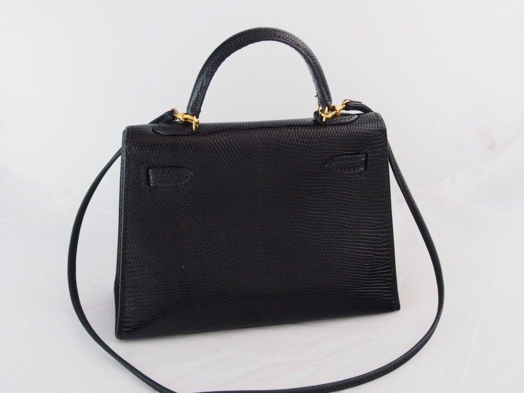 "HERMES Kelly rare ""Micro Mini"" Black Lizard 15cm Bag Vintage 1980's  4"