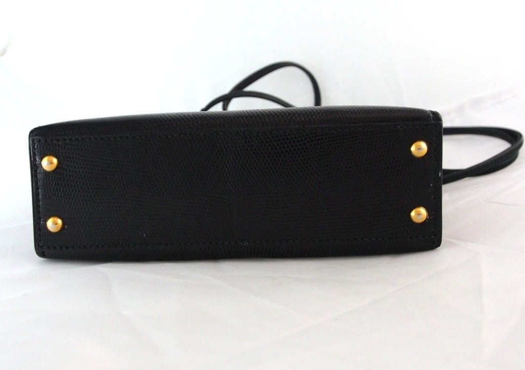 "HERMES Kelly rare ""Micro Mini"" Black Lizard 15cm Bag Vintage 1980's  7"