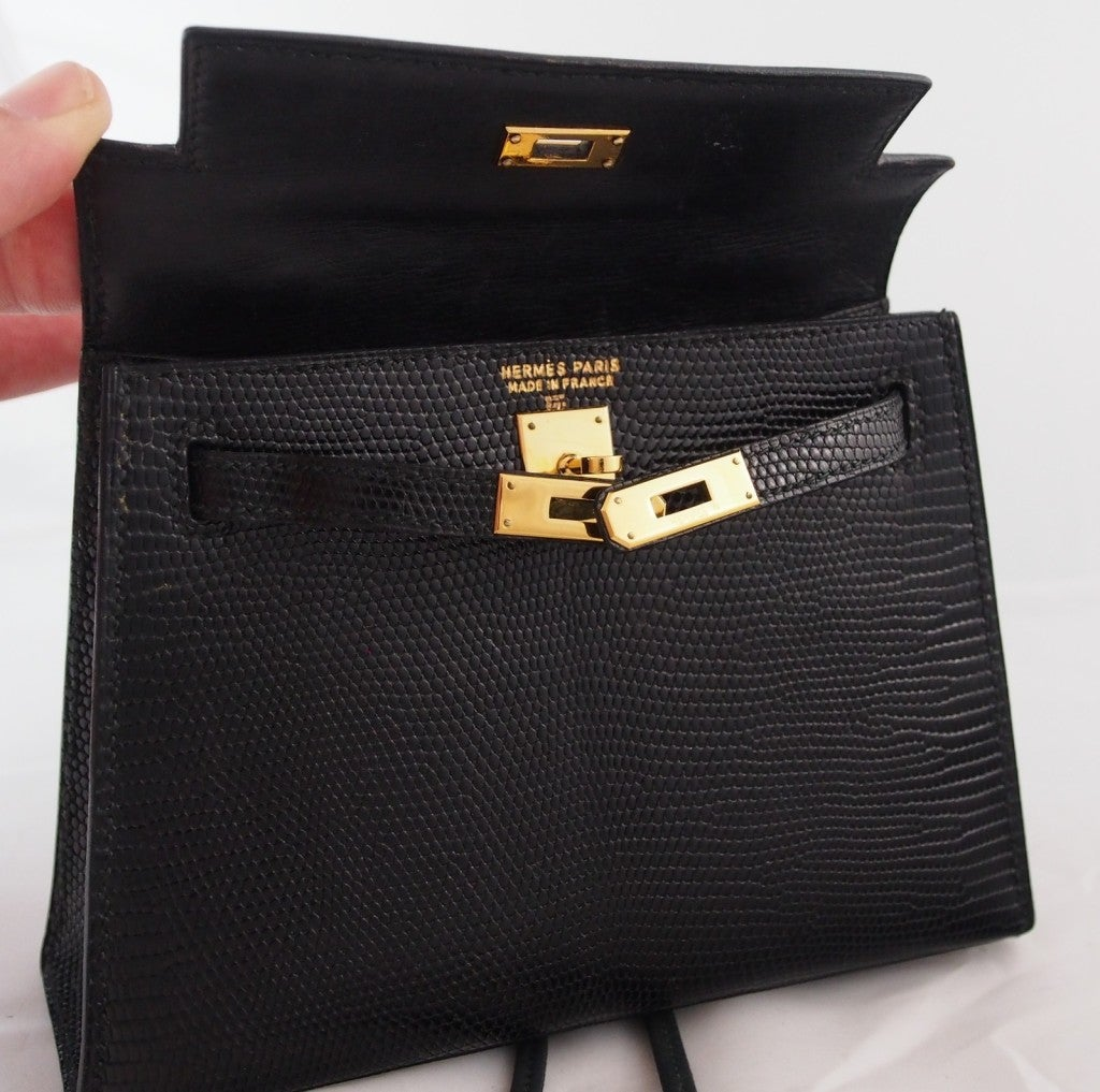 "HERMES Kelly rare ""Micro Mini"" Black Lizard 15cm Bag Vintage 1980's  8"