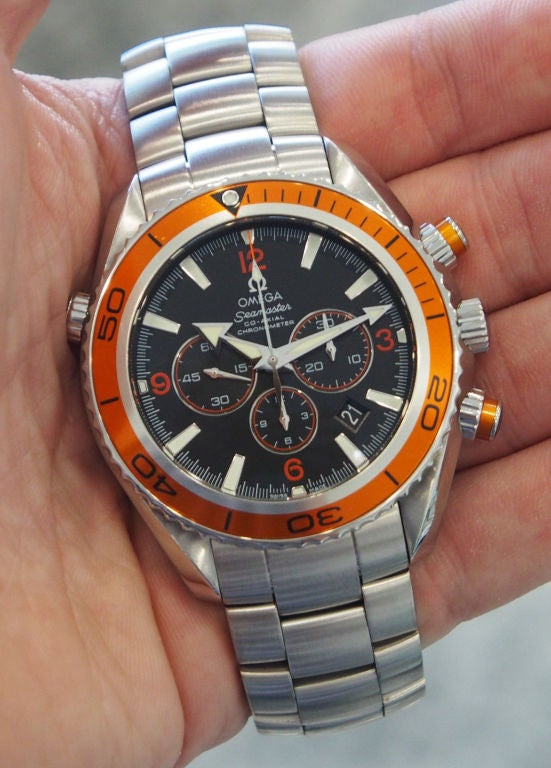 Omega Stainless Steel Seamaster Planet Ocean Chronograph ...