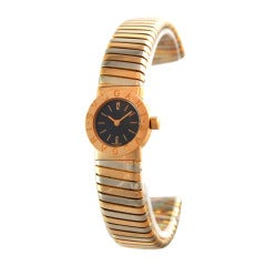 Bulgari Lady's Yellow and White Gold Tubogas Bangle Watch
